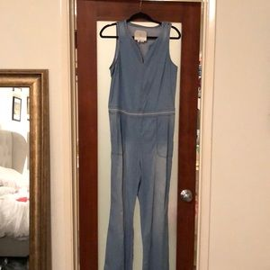 Chambray onsie with cutout back